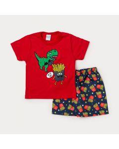 Conjunto Infantil Masculino Camiseta Vermelha Batata Frita e Bermuda Preta Estampada