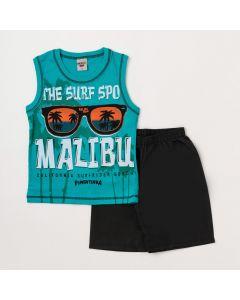 Conjunto Infantil Masculino Regata Verde Surfista e Bermuda Preta