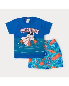 Conjunto Masculino Infantil Bermuda Azul Estampada e Camiseta Azul Gato