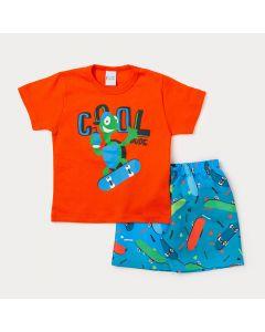 Conjunto Masculino Infantil Bermuda Azul Estampada e Camiseta Laranja Tartaruga