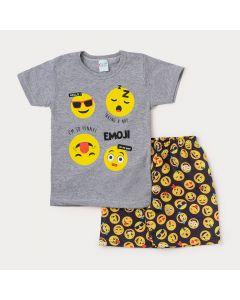 Conjunto Masculino Infantil Bermuda Preta Estampada e Camiseta Cinza Emoji