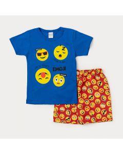 Conjunto Masculino Infantil Bermuda Vermelha Estampada e Camiseta Azul Emoji
