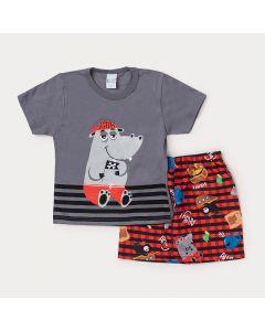 Conjunto Masculino Infantil Bermuda Vermelha Estampada e Camiseta Cinza Hipopótamo