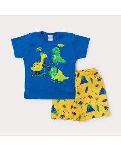 Conjunto Masculino Infantil Camiseta Azul Dinossauros e Bermuda Amarela Estampada