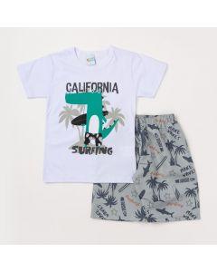 Conjunto Masculino Infantil Camiseta Branca Jacaré Surfista e Bermuda Cinza Estampada