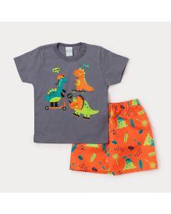 Conjunto Masculino Infantil Camiseta Cinza Dinossauros e Bermuda Laranja Estampada