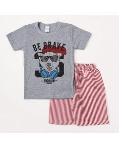 Conjunto Masculino Infantil Camiseta Cinza Estampada e Bermuda Listrada Vermelha