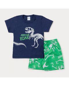 Conjunto Masculino Infantil Camiseta Marinho Dinossauro e Bermuda Verde Estampada