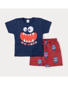 Conjunto Masculino Infantil Camiseta Marinho Monstro e Bermuda Vermelha Estampada