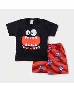 Conjunto Masculino Infantil Camiseta Preta Monstro e Bermuda Vermelha Estampada