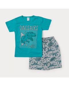 Conjunto Masculino Infantil Camiseta Verde Tiranossauro Rex e Bermuda Cinza Estampada