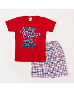 Conjunto Masculino Infantil Camiseta Vermelha Carro e Bermuda Branca Xadrez