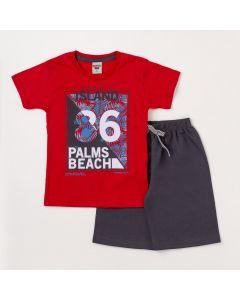 Conjunto Masculino Infantil Camiseta Vermelha Estampada e Bermuda Chumbo
