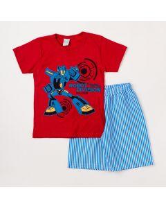 Conjunto Masculino Infantil Camiseta Vermelha Robô e  Bermuda Listrada Azul