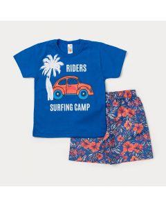 Conjunto para Criança Camiseta Azul Estampa de Fusca e Bermuda Azul Floral