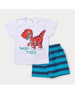 Conjunto para Criança Camiseta Branca Dinossauro Tiranossauro e Bermuda Azul Listrada