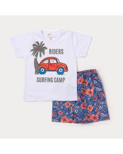 Conjunto para Criança Camiseta Branca Estampa de Fusca e Bermuda Azul Floral