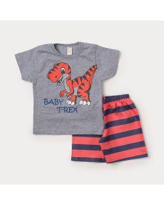 Conjunto para Criança Camiseta Cinza Dinossauro Tiranossauro e Bermuda Laranja Listrada
