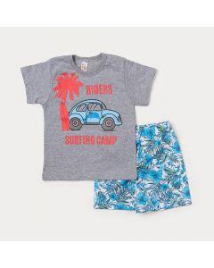 Conjunto para Criança Camiseta Cinza Estampa de Fusca e Bermuda Branca Floral