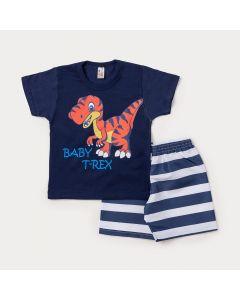 Conjunto para Criança Camiseta Marinho Dinossauro Tiranossauro e Bermuda Azul Listrada