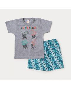 Conjunto para Crianças Camiseta Cinza Dinossauros e Bermuda Verde Estampada