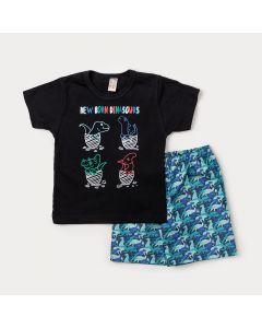 Conjunto para Crianças Camiseta Preta Dinossauros e Bermuda Azul Estampada