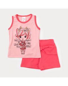 Conjunto Short Rosa e Regata com Estampa para Infantil Feminino