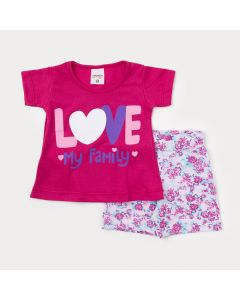Conjunto com Blusa Pink de Bebê Menina e Short Branco