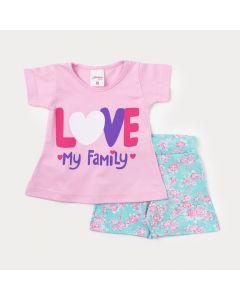 Conjunto de Roupa de Bebê Feminino Blusa Rosa e Short Azul com Estampa