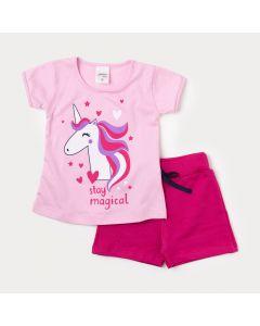 Conjunto Infantil Feminino Blusa Rosa de Unicórnio e Short Pink