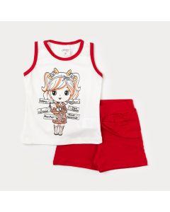 Conjunto Infantil Feminino Regata Marfim com Estampa e Short Curto Vermelho