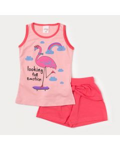 Conjunto de Roupa Feminina Infantil Regata Rosa Flamingo e Short Rosa