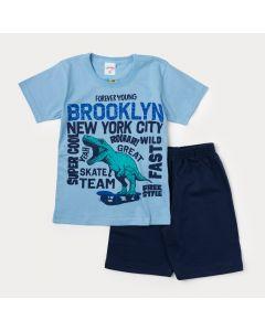 Conjunto Masculino Infantil Camiseta Azul Dinossauro e Bermuda Marinho