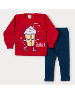 Conjunto de Inverno Menina Casaco Vermelho Milk Shake Calça Marinho