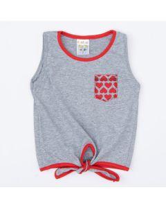 Blusa Cropped com Amarração Cinza para Menina