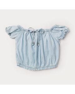 Cropped Jeans Infantil Feminino Azul Claro com Elástico no Ombro