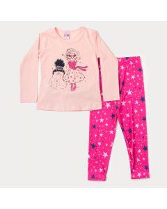 Conjunto de Frio Infantil Feminino Blusa Rosa Estampada e Legging Pink Estrela