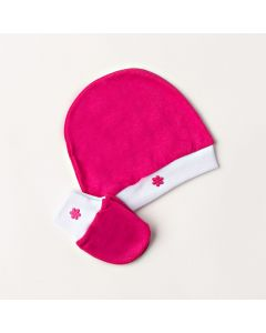 Kit Touca e Luva Bebê Sati Baby Básico Pink em Meia Malha