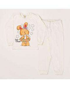 Conjunto Infantil Blusa Estampada Calça Em Meia Malha Marfim