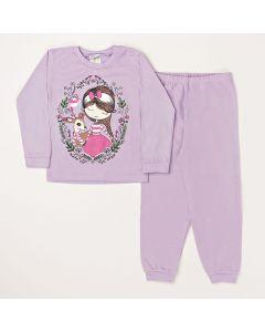 Conjunto Infantil Blusa Girl e Calça Em Meia Malha Lilás