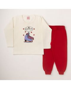 Conjunto Longo Lik Kids Casaco Ice Skating Marfim e Calça com Punho Vermelho em Moletom
