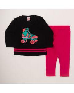 Conjunto Longo Lik Kids Blusa Patins Preto em Meia Malha e Calça Legging Pink em Cotton