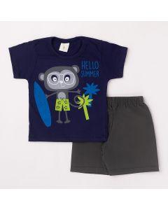 Conjunto Curto Infantil Datitia Camiseta Hello Summer em Meia Malha Marinho e Bermuda em Tactel Chumbo