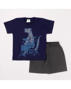 Conjunto Curto Infantil Datitia Camiseta Dinossauro em Meia Malha Marinho e Bermuda em Tactel Chumbo