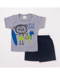 Conjunto Curto Infantil Datitia Camiseta Hello Summer em Meia Malha Mescla e Bermuda em Tactel Marinho