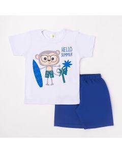 Conjunto Curto Infantil Datitia Camiseta Hello Summer em Meia Malha Branca e Bermuda em Tactel Azul