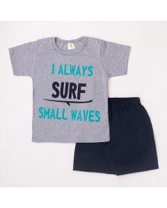 Conjunto Curto Infantil Datitia Camiseta Always Surf em Meia Malha Mescla e Bermuda em Tactel Marinho