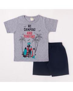 Conjunto Curto Infantil Datitia Camiseta Camping em Meia Malha Mescla e Bermuda em Tactel Marinho