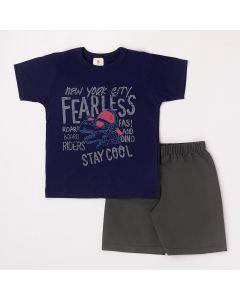 Conjunto Curto Infantil Datitia Camiseta New York em Meia Malha Marinho e Bermuda em Tactel Chumbo