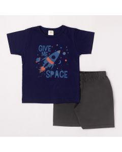 Conjunto Curto Infantil Datitia Camiseta Give Me Space em Meia Malha Marinho e Bermuda em Tactel Chumbo